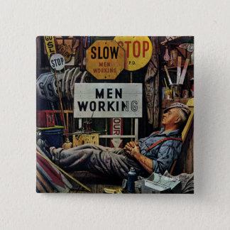 Men Working 15 Cm Square Badge