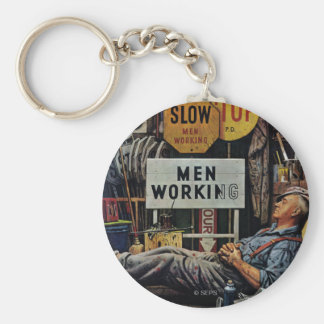 Men Working Basic Round Button Key Ring
