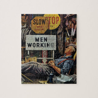 Men Working Jigsaw Puzzle