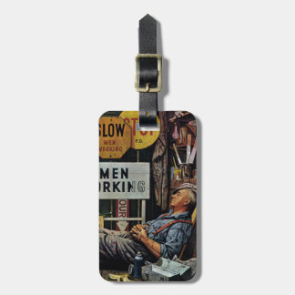 Men Working Luggage Tag