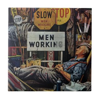 Men Working Small Square Tile