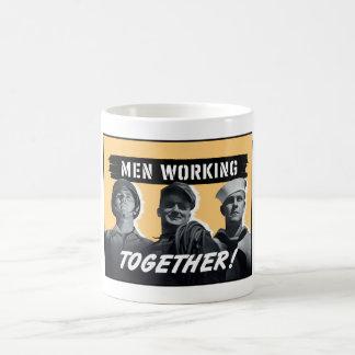 Men Working Together! WW2 Poster Basic White Mug