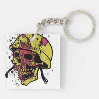 Menacing skull Double-Sided square acrylic key ring