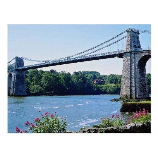 Menai Bridge, Gwynedd, North Wales flowers Postcard