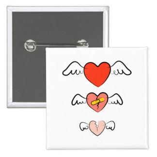 Mended heart 15 cm square badge