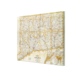 Mendenhall's Guide, Road Map Connecticut Canvas Print