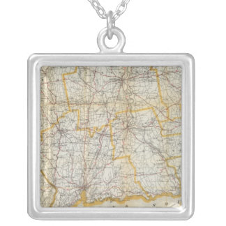 Mendenhall's Guide, Road Map Connecticut Silver Plated Necklace
