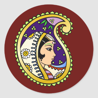 Mendhi Princess Classic Round Sticker