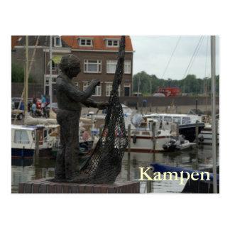 Mending fishing nets postcard