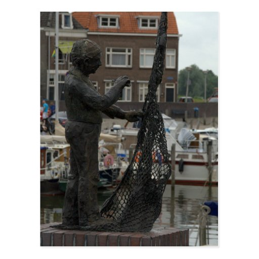 Mending fishing nets post card