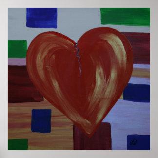 Mending Heart Broken Art  Modern Poster Print