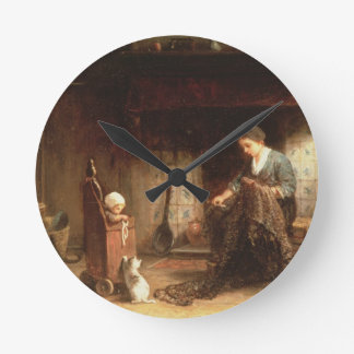 Mending the Nets (oil on panel) Round Clock