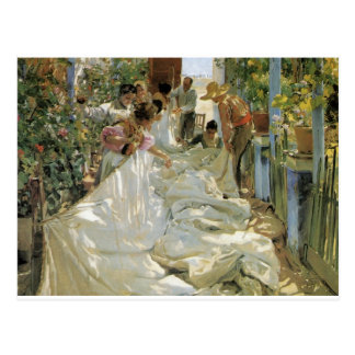 Mending the Sail -  Joaquín Sorolla y Bastida Postcard