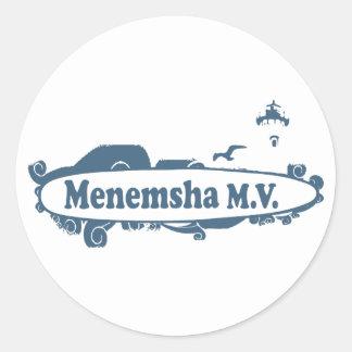 Menemsha Beach - Surf Design. Round Stickers