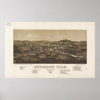Menomonee Falls WI 1886 Antique Panoramic Map Poster