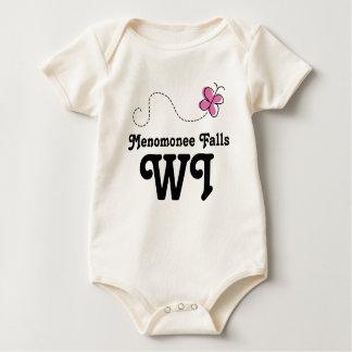 Menomonee Falls Wisconsin Pink Butterfly Baby Bodysuit