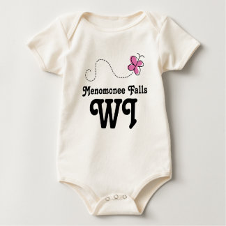 Menomonee Falls Wisconsin Pink Butterfly Bodysuit