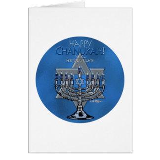 Menora & Star of David - Happy Chanukah card