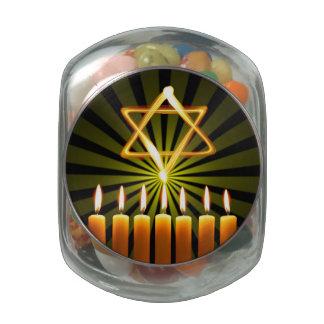 Menorah And Star Glass Jars