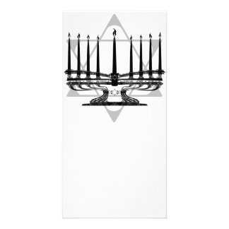 Menorah and Star Personalized Photo Card