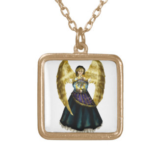 Menorah Angel Square Pendant Necklace
