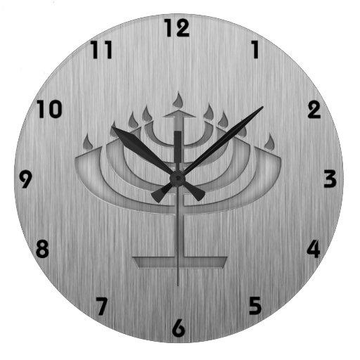 Menorah; Brushed metal-look Wall Clock