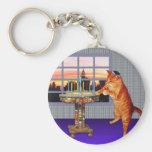 Menorah Cat Basic Round Button Key Ring