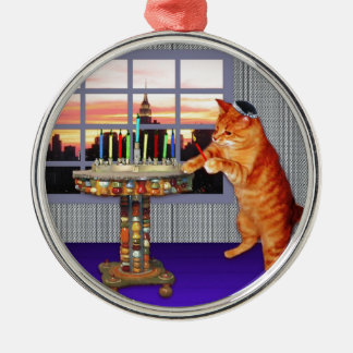menorah cat.jpg Silver-Colored round decoration