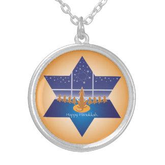 Menorah Dogs_Happy Hanukkah_Star of David Round Pendant Necklace
