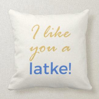 Menorah Flip - I Like You a Latke Cushion