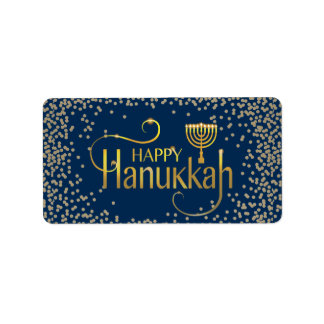 Menorah Happy Hanukkah Address Label