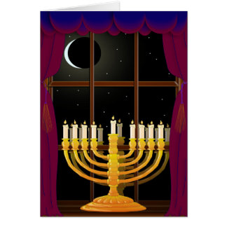Menorah In Window Greeting Card