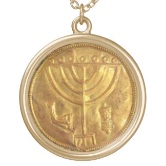Menorah Medallion Round Pendant Necklace