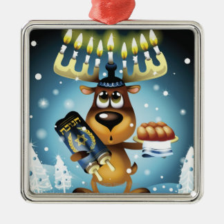 Menorah Reindeer Christmas Ornament