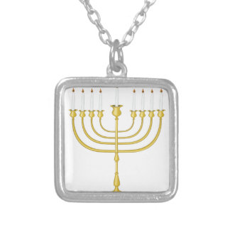 Menorah Silver Plated Necklace