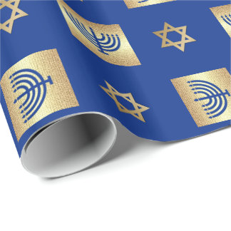 Menorah & Star of David Hanukkah Wrapping Paper