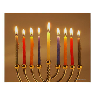 Menorah with all candles lit poster
