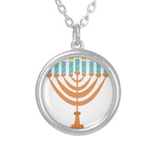 Menorrah Round Pendant Necklace
