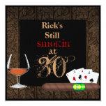 MENS 30th Birthday Cigars,Poker BRANDY INVITATIONS