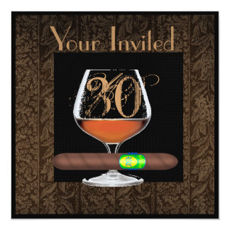 MENS 30th Birthday INVITATIONS COGNAC TEMPLATE