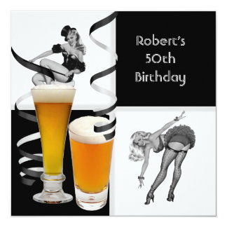 Mens 50th Birthday Check Retro Girl PINUP Beer Card