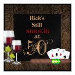 MENS 50th Birthday  Invitation WINE,Cards, Cigars