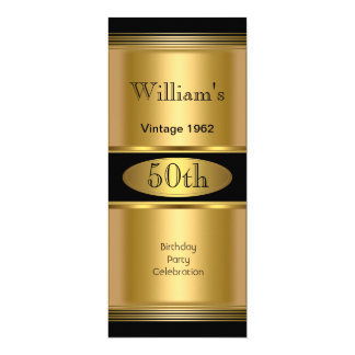 Mens 50th Birthday Party Gold Black Vintage 10 Cm X 24 Cm Invitation Card