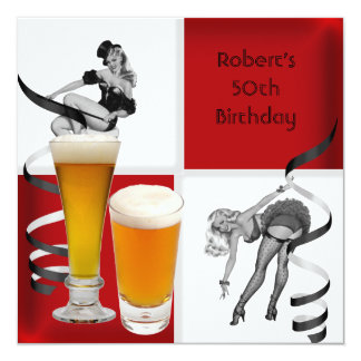 Mens 50th Birthday Red Check Retro Girl PINUP Beer 13 Cm X 13 Cm Square Invitation Card