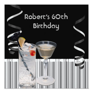 Mens 60th Birthday Party Black Silver Drinks Card