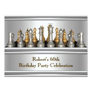 Mens 60th Birthday Party Chess Set Metal 17 Cm X 22 Cm Invitation Card