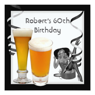 Mens 60th Birthday Party Retro Girl PINUP Beer 13 Cm X 13 Cm Square Invitation Card