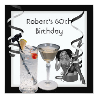 Mens 60th Birthday Party Retro Girl PINUP Drinks 13 Cm X 13 Cm Square Invitation Card