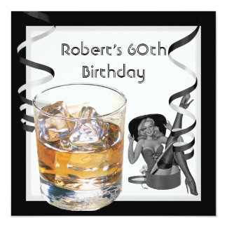 Mens 60th Birthday Party Retro Girl PINUP Scotch 13 Cm X 13 Cm Square Invitation Card