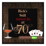 MENS 70th Birthday Cigars,Poker BRANDY INVITATIONS